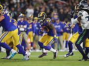 Los Angeles Rams running back Todd Gurley (30) runs the ball during an NFL football game against the Seattle Seahawks, Sunday, Dec. 8, 2019, in Los Angeles, Calif. The Rams defeated the Seahawks 28-12. (Peter Klein/Image of Sport)