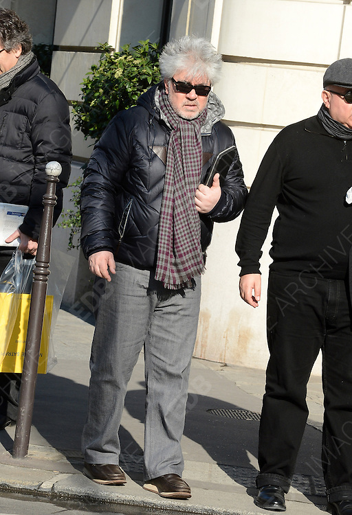 19.FEBRUARY.2013. PARIS<br /> <br /> PEDRO ALMODOVAR IS SEEN STROLLING IN PARIS<br /> <br /> BYLINE: EDBIMAGEARCHIVE.CO.UK<br /> <br /> *THIS IMAGE IS STRICTLY FOR UK NEWSPAPERS AND MAGAZINES ONLY*<br /> *FOR WORLD WIDE SALES AND WEB USE PLEASE CONTACT EDBIMAGEARCHIVE - 0208 954 5968*