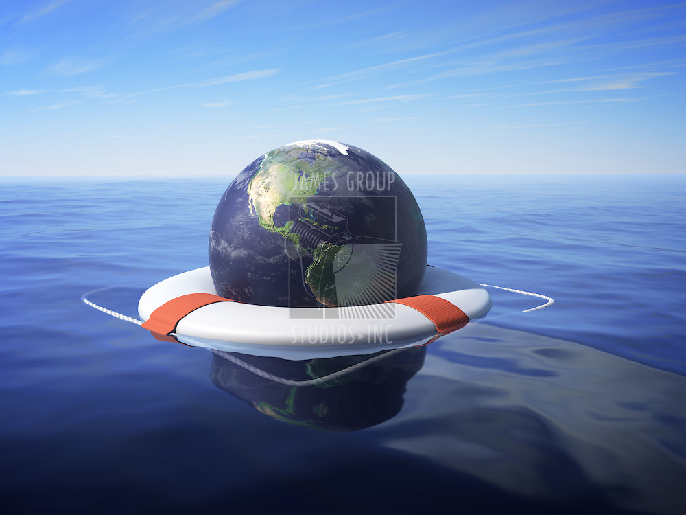 An Earth floating in a lifesaver over sea water.