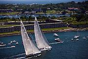 Ranger and Velsheda sailing in the J Class Regatta in Newport, Rhode Island.