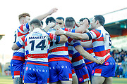 Rochdale Hornets interchange Pat Moran (16) scores a try  during the Betfred Championship match between Rochdale Hornets and Halifax RLFC at Spotland, Rochdale, England on 25 February 2018. Picture by Simon Davies.