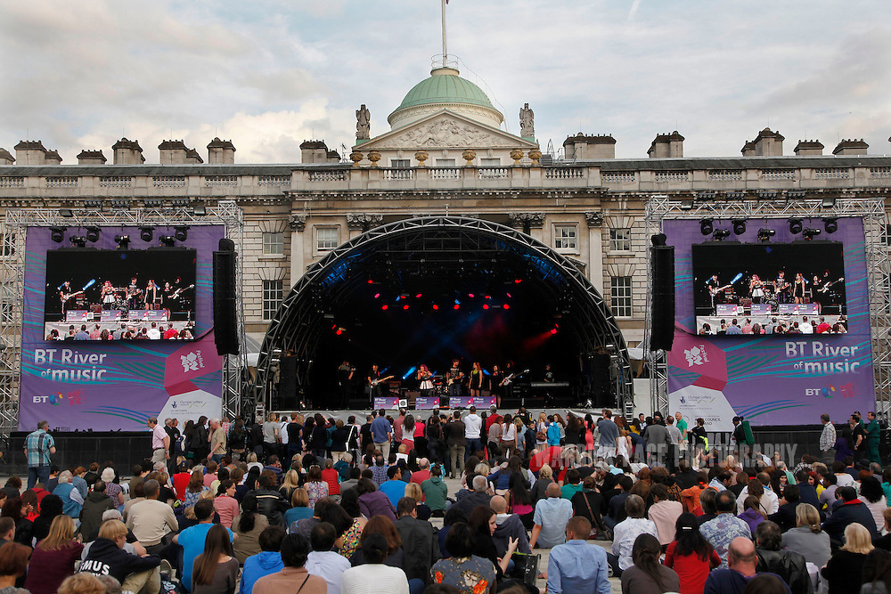 A band performs at the European venue of the BT River of Music Festival at Somerset House, on July 21, 2012 in London, England. As part of the Cultural Olympiad visitors to London are enjoying a selection of world music at different venues representing Africa, Oceania, the Americas, Asia and Europe. (Photo by Warrick Page)