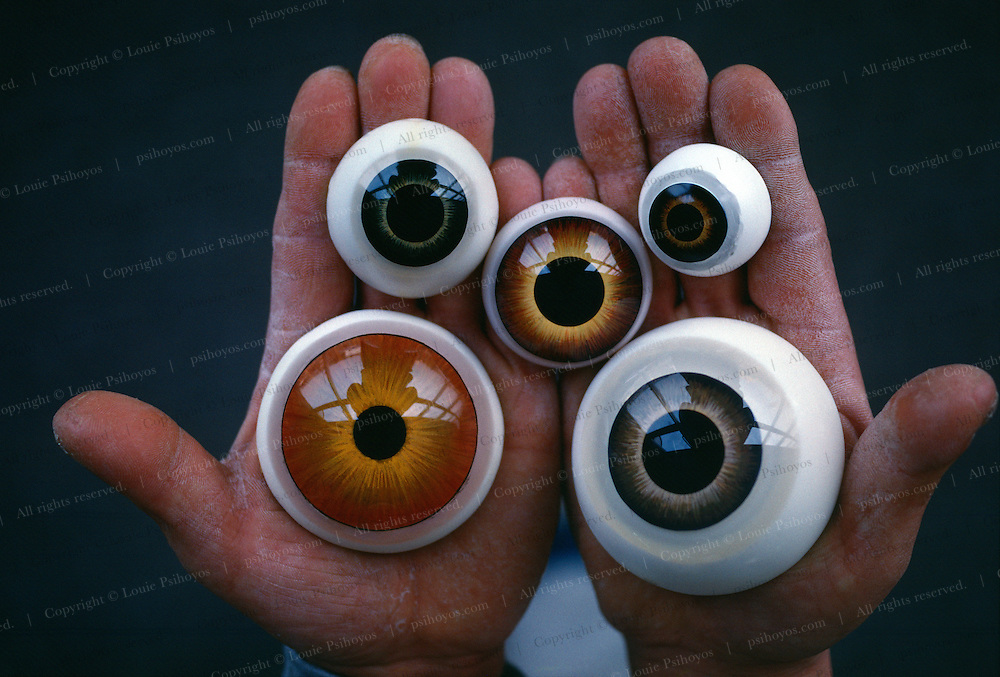 At Stan Winston Studios outside L.A. in Van Nuys, CA., the dinosaur eyes for Steven Spielberg's action epic, Jurassic Park were created.