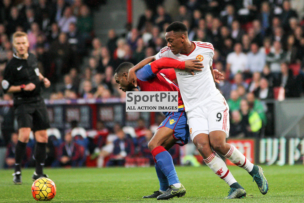 Jason Puncheon and Anthony Martial fight for the ball During Crystal Palace vs Manchester United on Saturday the 31st October 2015.