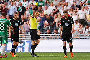 STOCKHOLM, SWEDEN - MAY 16: Lasse Nielsen of Malmo FF is shown a yellow card by Martin Strombergsson, referee during the Allsvenskan match between Hammarby IF and Malmo FF at Tele2 Arena on May 16, 2018 in Stockholm, Sweden. Photo by Nils Petter Nilsson/Ombrello ***BETALBILD***