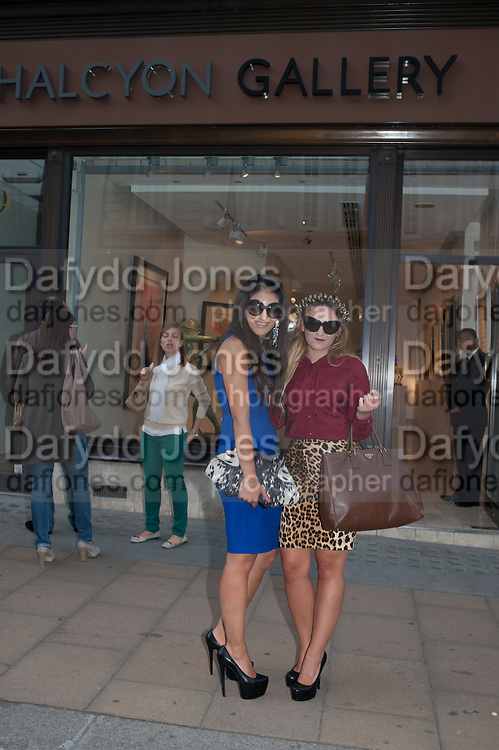 ISABELLA ELINAS; YVETTE CHRISTINE ELINAS, Vogue's Fashion night out special opening of the Halcyon Gallery.  New Bond St. London. 6 December 2012.