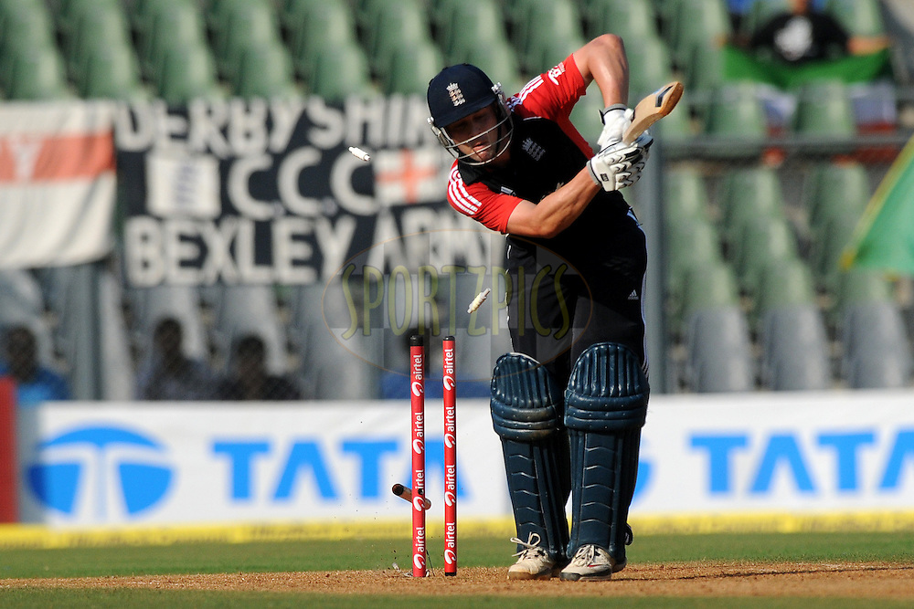 Jonathan Trott of England gets bowled out during the 4th One Day International ( ODI ) match between India and England held at the Wankhede Stadium, Mumbai on the 23rd October 2011..Photo by Pal Pillai/BCCI/SPORTZPICS