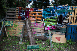 Signs around an entrance to HS2 Rebellion's Denham Protection Camp are pictured on 7 September 2020 in Denham, United Kingdom. Anti-HS2 activists continue to try to prevent or delay works on the controversial £106bn project for which the construction phase was announced on 4th September from a series of protection camps based along the route of the line between London and Birmingham.