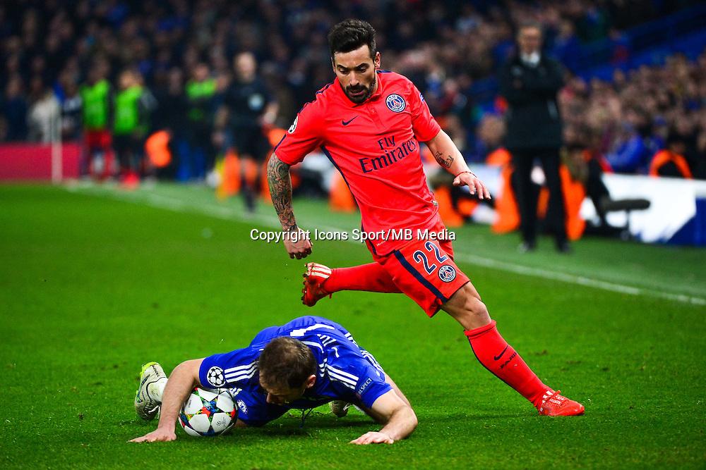Ezequiel LAVEZZI / Branislav IVANOVIC - 11.03.2015 - Chelsea / Paris Saint Germain - 1/8Finale retour Champions League<br /> Photo : Dave Winter / Icon Sport