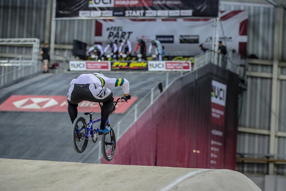 #77 (SAKAKIBARA Kai) AUS at Round 2 of the 2019 UCI BMX Supercross World Cup in Manchester, Great Britain