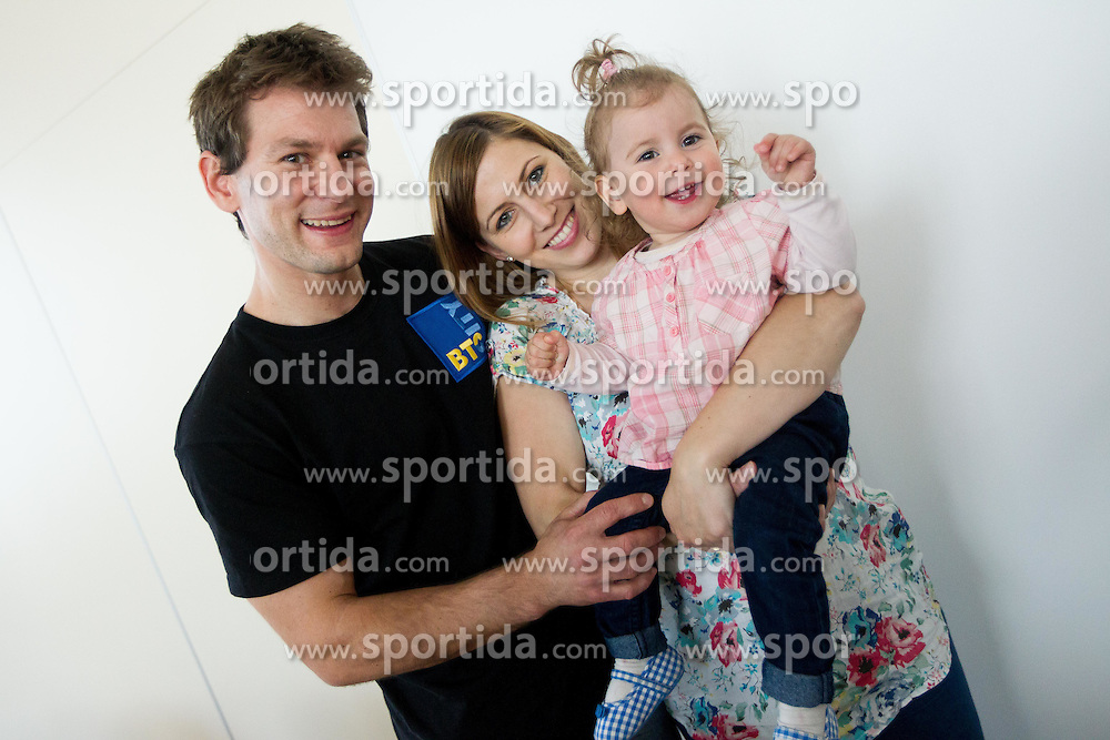 Mitja Petkovsek with his daughter Gaja and girlfriend Mojca Rode during press conference of Slovenian Gymnastic team after European Championship Montpellier 2012, on May 29, 2012 in City Hotel, Ljubljana, Slovenia.   (Photo by Vid Ponikvar / Sportida.com)