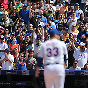 New York Mets fans react as Pitcher Matt Harvey, New York Mets, strike out Giancarlo Stanton, Miami Marlins,  during the New York Mets Vs Miami Marlins MLB regular season baseball game at Citi Field, Queens, New York. USA. 19th April 2015. Photo Tim Clayton