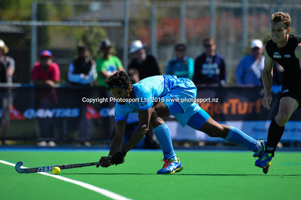 Rupinder Pal Singh of India during the Mens Hockey International, 2015 South Island Tour game between the New Zealand Black Sticks V India, at Marist Park, Christchurch, on the 11th October 2015. Copyright Photo: John Davidson / www.photosport.nz