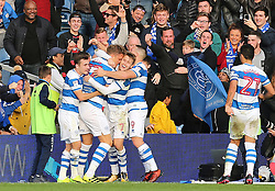 QPR's Matt Smith (second left) celebrates scoring his side's second goal of the game with team-mates during the Sky Bet Championship match at Loftus Road, London.