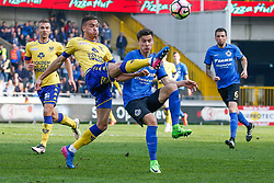 March 12, 2017 - Brugge, BELGIUM - STVV's Damien Dussaut and Club's Dorin Rotariu fight for the ball during the Jupiler Pro League match between Club Brugge KV and Sint-Truidense VV, in Brugge, Sunday 12 March 2017, on day 30 of the Belgian soccer championship, the last day of the regular competition. BELGA PHOTO BRUNO FAHY (Credit Image: © Bruno Fahy/Belga via ZUMA Press)