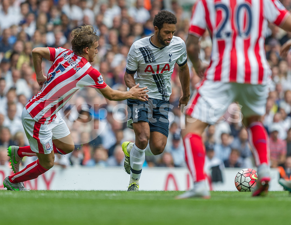 Mousa Dembélé of Tottenham Hotspur in action during the Barclays Premier League match between Tottenham Hotspur and Stoke City at White Hart Lane, London, England on 15 August 2015. Photo by Vince  Mignott.