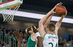 Aleksey Savrasenko of Unics Kazan vs Davis Bertans of Union Olimpija during basketball match between KK Union Olimpija and Unics Kazan (RUS) of 10th Round in Group D of Regular season of Euroleague 2011/2012 on December 21, 2011, in Arena Stozice, Ljubljana, Slovenia. Unics Kazan defeated Union Olimpija 76-63. (Photo by Vid Ponikvar / Sportida)