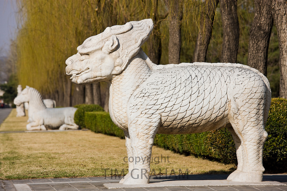 Statue of a standing Qilin, Spirit Way, Ming Tombs, Beijing (Peking), China