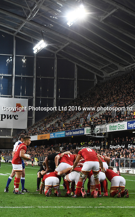 General view of the scrum packing down. New Zealand All Blacks v Wales. Rugby Union. 3rd test match of the Steinlager series. Forsyth Barr Stadium, Dunedin, New Zealand. Saturday 25 June 2016. © Copyright Photo: Andrew Cornaga / www.Photosport.nz