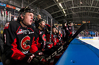 KELOWNA, CANADA - JANUARY 4: Cole Beamin #3 of the Prince George Cougars sits on the bench against the Kelowna Rockets  on January 4, 2019 at Prospera Place in Kelowna, British Columbia, Canada.  (Photo by Marissa Baecker/Shoot the Breeze)