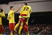Almen Abdi goal celebration 4th goal during the Sky Bet Championship match between Fulham and Watford at Craven Cottage, London, England on 5 December 2014.
