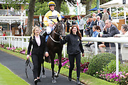CHAINS OF LOVE (14) ridden by jockey Ben Curtis and trained by Karl Burke come back to the Winners Enclosure after winning The SKF Rous Selling Stakes over 6f (£15,000) during the Mid Summer Raceday at York Racecourse, York, United Kingdom on 15 June 2018. Picture by Mick Atkins.