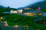 Längenfeld, Tyrol, Austria. AQUA DOME at dusk.