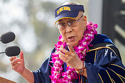 June 17, 2017 - La Jolla, US - Tenzin Gyatso, His Holiness the 14th DALAI LAMA delivers keynote speech at the University of California San Diego All Campus Commencement to 25,000 University of California San Diego graduates and their families. (Credit Image: © Daren Fentiman via ZUMA Wire)