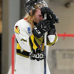 TRENTON, ON  - MAY 5,  2017: Canadian Junior Hockey League, Central Canadian Jr. &quot;A&quot; Championship. The Dudley Hewitt Cup. Game 7 between The Georgetown Raiders and The Powassan Voodoos. Gary Mantz #9 of the Powassan Voodoos  <br /> (Photo by Amy Deroche / OJHL Images)
