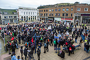 Kent anti racism network and friends gather in the market square Dover protesting against a facist demonstration also taking place in the port town. 30th January 2016