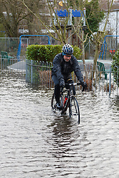 © Licensed to London News Pictures. 09/02/2014. Winchester, Hampshire, UK. A man rides tries not to get his feet wet whilst riding through flood water in River Park, Winchester, after water levels rose overnight in parts of the historic city. A flood warning has been issued by the Environment Agency for parts of the River Itchen. Photo credit : Rob Arnold/LNP