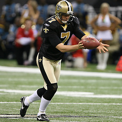 2007 October, 21: New Orleans Saints punter Steven Weatherford (7) punts the football during a 22-16 win by the New Orleans Saints over the Atlanta Falcons at the Louisiana Superdome in New Orleans, LA.