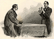 The Adventure of the Yellow Face'.  Holmes explaining to Watson what he has deduced from the pipe left behind by a visitor. 'The owner is obviously a muscular man, left-handed, with an excellent set of teeth, careless in his habits, and with no need to practise economy'. From 'The Adventures of Sherlock Holmes' by Conan Doyle from 'The Strand Magazine' (London, 1893). Illustration by Sidney E Paget, the first artist to draw Sherlock Holmes.  Engraving.