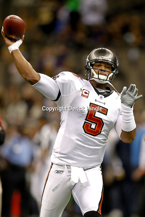 November 5, 2011; New Orleans, LA, USA; Tampa Bay Buccaneers quarterback Josh Freeman (5) prior to kickoff of a game against the New Orleans Saints at the Mercedes-Benz Superdome. Mandatory Credit: Derick E. Hingle-US PRESSWIRE
