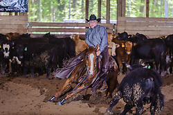 May 20, 2017 - Minshall Farm Cutting 3, held at Minshall Farms, Hillsburgh Ontario. The event was put on by the Ontario Cutting Horse Association. Riding in the 25,000 Novice Horse Non-Pro Class is John Koop on Head Cat owned by the rider.