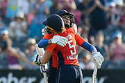 England win - Natalie Sciver of England and Heather Knight (captain) of England hug after England beat New Zealand during the International T20 match between England Women Cricket and New Zealand at the Bristol County Ground, Bristol, United Kingdom on 28 June 2018. Picture by Graham Hunt.