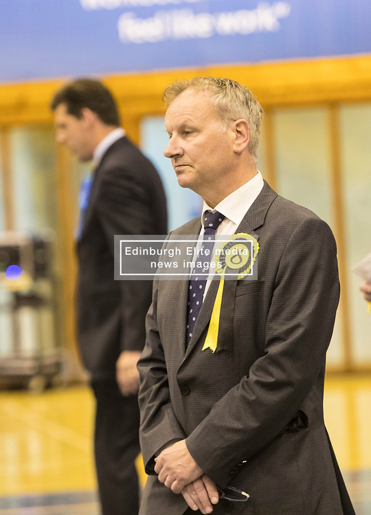 The count for the UK Parliamentary General Election 2017 for the Perth & North Perthshire Constituency takes place at Bell's Sports Centre in Perth.<br /> <br /> The four candidates standing for the seat are Peter Barrett (Scottish Liberal Democrats), Ian Duncan (Scottish Conservatives), David Roemmele (Scottish Labour) and Pete Wishart (SNP)<br /> <br /> Pictured: A second recount is declared at Perth and North Perthshire with the two tired candidates Pete Wishart and Ian Duncan returning to find the votes that could put them in power.