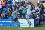 Steven Jennings (C) (Tranmere Rovers) heads the ball back infield during the Vanarama National League match between Tranmere Rovers and Grimsby Town FC at Prenton Park, Birkenhead, England on 30 April 2016. Photo by Mark P Doherty.