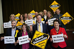 Deputy Prime Minister Nick Clegg and leader of the Liberal Democrats Party holds banners with supporters in a visit to the Cypriot Community Centre in Earlham Grove, London, United Kingdom. Tuesday, 6th May 2014. Picture by Daniel Leal-Olivas / i-Images
