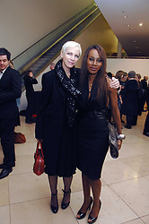 Left to right, ANNIE LENNOX and AMMA ASANTE at a private view of Bryan Adam's photographs entitled 'Modern Muses' held at The National Portrait Gallery, London on 11th March 2008.<br />