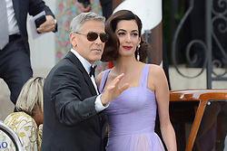 Hollywood star George Clooney was treated in hospital on Tuesday for minor injuries after a scooter accident in Sardinia, Italy on July 10, 2018 ------------ George Clooney on his way to the Premiere ofSuburbicon on a boat during the 74th Venice International Film Festival (Mostra di Venezia) at the Lido, Venice, Italy on September 02, 2017. Photo by Aurore Marechal/ABACAPRESS.COM