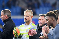 Football - 2018 / 2019 Premier League - Cardiff City vs. Leicester City<br /> <br /> Kasper Schmeichel of Leicester City & Leicester players applaud their fans after the victory in Leicester's 1st match since the death of Vichai Srivaddhanaprabha, at Cardiff City Stadium.<br /> <br /> COLORSPORT/WINSTON BYNORTH