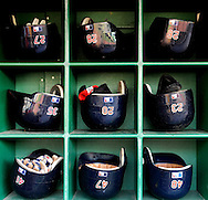 CLEVELAND, OH USA - JULY 6: Cleveland Indians batting helmets stored before the game between the Cleveland Indians and the New York Yankees at Progressive Field in Cleveland, OH, USA on Wednesday, July 6, 2011.