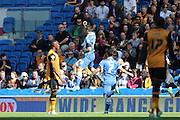 Brighton striker, Tomer Hemed celebrates after scoring Brightons opening goal during the Sky Bet Championship match between Brighton and Hove Albion and Hull City at the American Express Community Stadium, Brighton and Hove, England on 12 September 2015. Photo by Geoff Penn.