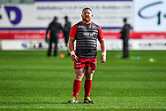 Scarlets' Samson Lee during the pre match warm up<br /> <br /> Photographer Craig Thomas/Replay Images<br /> <br /> Guinness PRO14 Round 13 - Scarlets v Dragons - Friday 5th January 2018 - Parc Y Scarlets - Llanelli<br /> <br /> World Copyright &copy; Replay Images . All rights reserved. info@replayimages.co.uk - http://replayimages.co.uk