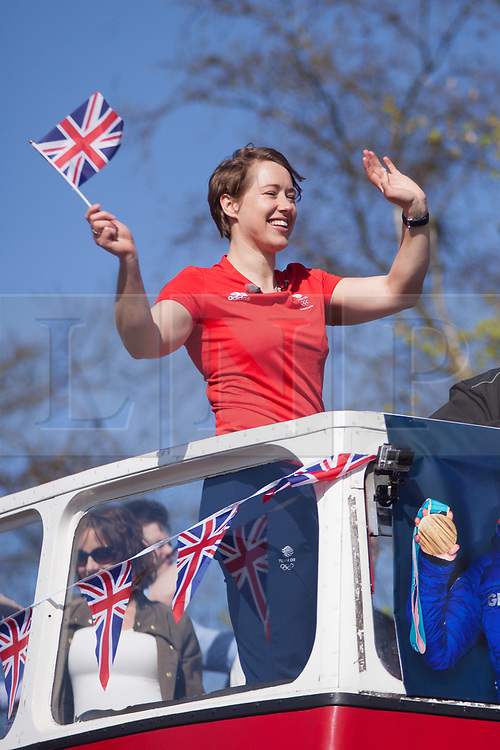 @Licensed to London News Pictures 18/04/2018. Sevenoaks, Kent. Lizzy Yarnold MBE double Olympic gold medal winner in the Olympic Skeleton journeys around Kent today on her victory bus parade. She is classified as the most successful Olympic Skeleton athlete of all time. Photo credit: Manu Palomeque/LNP