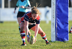 Sarah Bern of Bristol Ladies scores a try - Mandatory by-line: Paul Knight/JMP - 04/12/2016 - RUGBY - Cleve RFC - Bristol, England - Bristol Ladies v Worcester Valkyries - RFU Women's Premiership