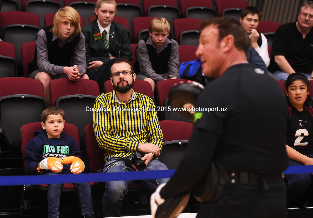Trainer Kevin Barry has the attention of Joseph Parker fans during a training session ahead of the Burger King Road to the Title fight. Wednesday 29 July 2015. ILT Stadium Southland, Invercargill, New Zealand. Copyright photo: Andrew Cornaga / www.photosport.nz