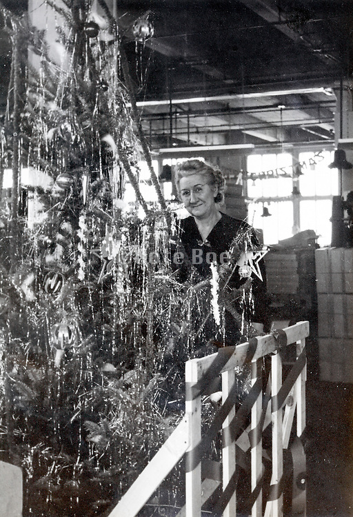 Christmas decoration at a company USA 1946