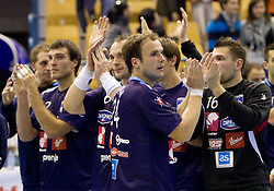 Uros Zorman of Slovenia celebrates after the handball match between National teams of Slovenia and Portugal in the Qualifications of the EHF EURO 2012, on October 27, 2010 at Arena Zlatorog, Celje, Slovenia. Slovenia defeated Portugal 34 - 31.(Photo By Vid Ponikvar / Sportida.com)